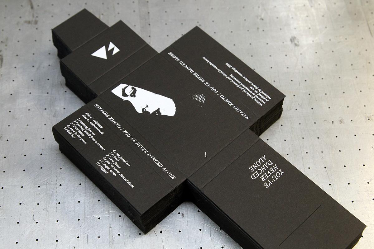 Natasha Kmeto - musta 380g/m2 vahvuinen kartonkikansi painatuksella